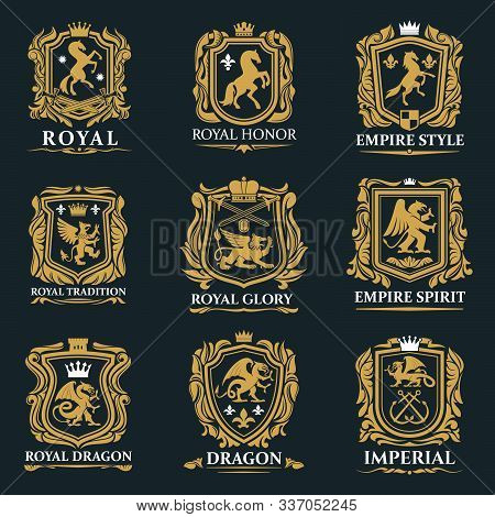 Heraldic Animals, Royal Heraldry Shields With Pegasus Horse, Griffin Lion And Medieval Crowns. Vecto