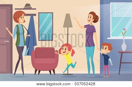 Nanny. Joyful Preschool Kids Invite Babysitter Teacher And Playing Together In Childrens Room Vector