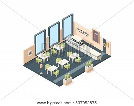 Pizzeria Interior. Fast Food Caffe Restaurant Buffet Italian Industrial Office Cross Plan With Furni