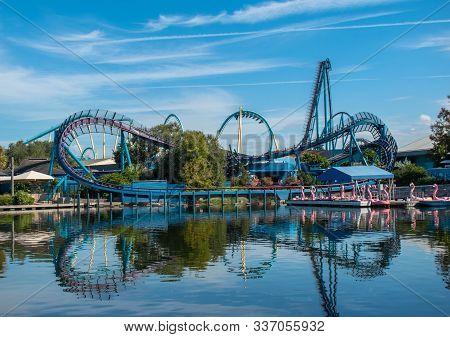 Orlando, Florida . November 22, 2019. Panoramic View Of Mako Rollercoaster And Paddle Swan-boats On