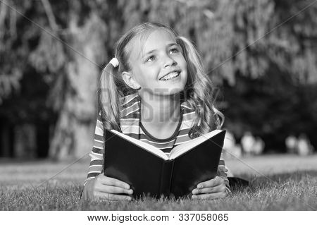 Only The Best Knowledge. Adorable Small Child Gain Read Book For Knowledge. Knowledge Day. September