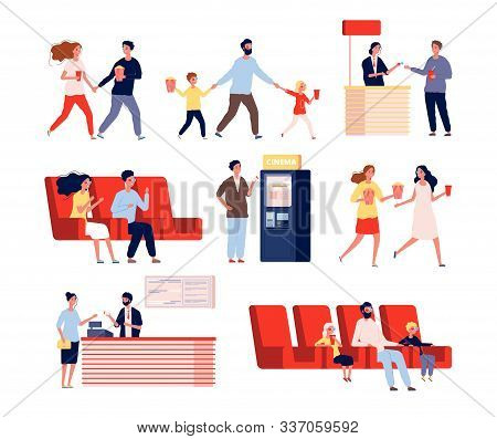 Characters In Movie Theatre. Funny People Going To Entertainment Show Watching Films Vector Flat Per