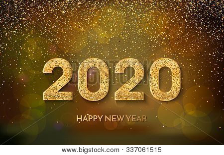2020 Happy New Year. Golden Numbers And Glitter On Dark Background. New Year 2020 Greeting Card. Vec