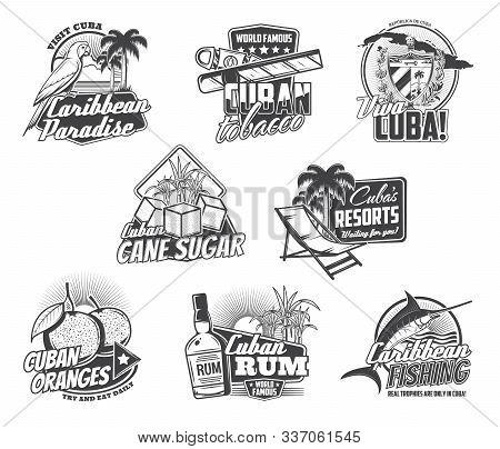 Cuba Havana Travel, Caribbean Holidays Paradise And Cuban Cigar Icons. Vector Viva Cuba Sign With Ma