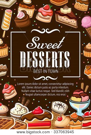 Bakery Sweet Desserts, Chocolate Cakes And Cupcakes, Patisserie Menu Poster. Vector Pastry Shop Cook