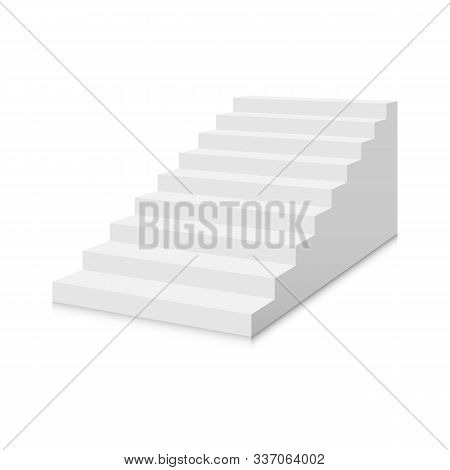 White Stairs Template. Interior Staircases In Cartoon Style Isolated On White Background. Home Moder