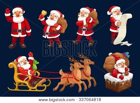Santa Claus Vector Icons Of Christmas And New Year Design. Santa With Xmas Gifts, Bag And Red Hat, R