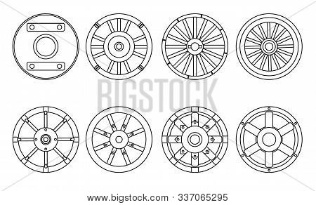 Wooden Wheel Vector Line Set Icon.vector Illustration Cart Of Wheel. Isolated Line Icon Cartwheel Fo