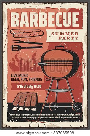 Barbecue Summer Party Vintage Retro Poster, Bbq Grill Meat Steaks And Hot Dog Sausages. Vector Outdo