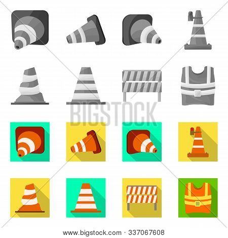 Vector Design Of Obstacle And Transportation Sign. Set Of Obstacle And Equipment Stock Symbol For We