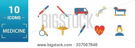 Medicine Icon Set. Include Creative Elements Medical Bag, Pills, Mixture, Dna, Pipette Icons. Can Be
