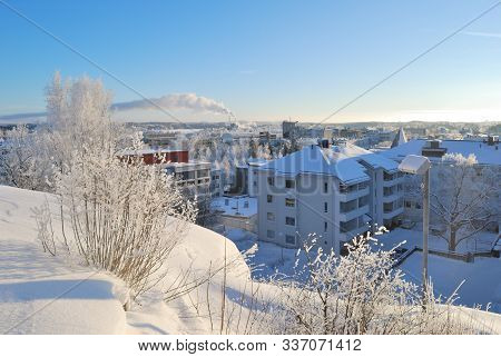 Finland. Top-view Of  Mikkeli In A Sunny Winter Day