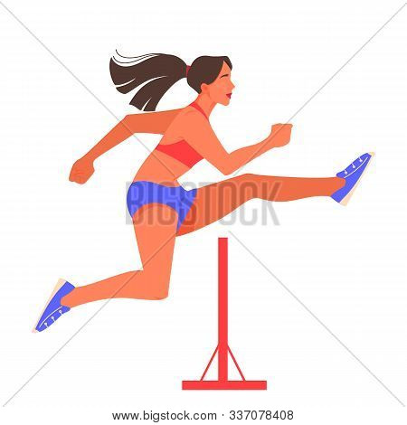 Vector Illustration Of Female Athlete Hurdling. Running Competition