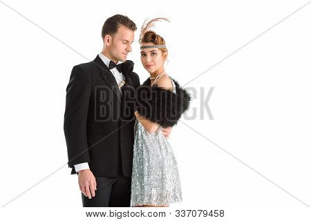 happy aristocratic couple standing isolated on white poster