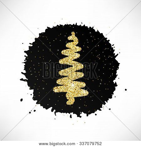 Hand Drawn Christmas Tree With Glitter Effect On Black Paint Spot Isolated On White Background. Scet