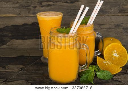 Orange Juice Fruit Smoothies Yogurt Drink Yellow Healthy Delicious Taste In A Glass Slush For Weight