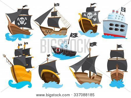 Set Of Wooden Pirate Buccaneer Filibuster Corsair Sea Dog Ship Icon Game, Isolated Flat Design. Colo