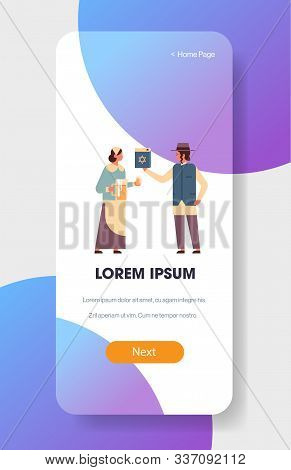 Jews Couple Holding Bible Book And Jug Jewish Man Woman In Traditional Clothes Standing Together Hap