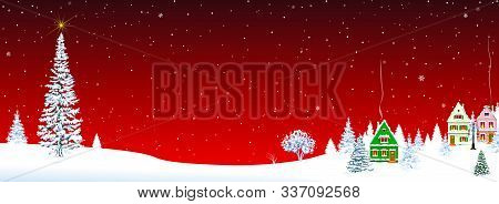 Little Village On Christmas Eve On A Red Background. Christmas Tree And Star In The Sky. Snow-covere