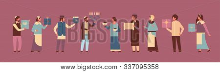 Jews People Standing Together Jewish Men Women In Traditional Clothes Happy Hanukkah Concept Judaism