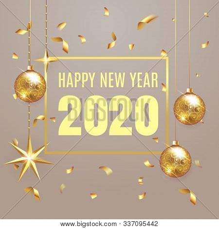 2020 Happy New Year Lettering Luxury Premium Design Text Template With Golden Confetti In Brown Eleg
