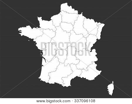 France Map With Boundaries Outline Vector Illustration. Gray, White.