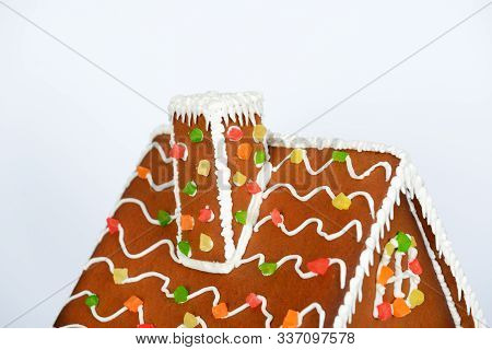 The Roof And Flue Of Hand-made Eatable Gingerbread House And Snow Decoration