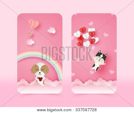 Illustration Of Love Cute Mobile Wallpaper In Paper Cut Style. Digital Craft Paper Art Happy Dog And
