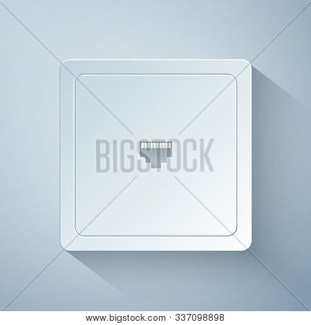Paper Cut Ethernet Socket Sign. Network Port - Cable Socket Icon Isolated On Grey Background. Lan Po