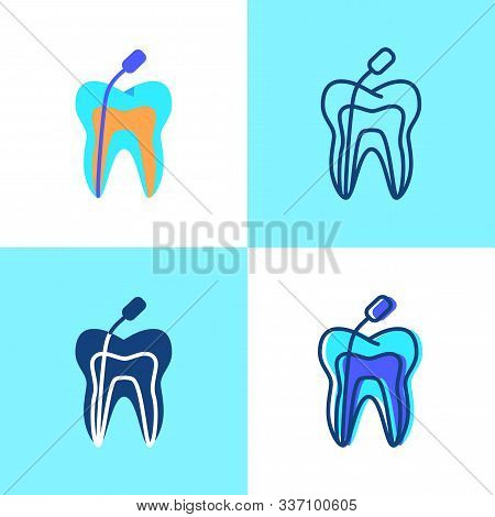 Root Canal Treatment Icon Set In Flat And Line Style
