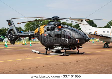 Fairford / United Kingdom - July 13, 2018: German Navy Eurocopter Ec-135 D-hddl Trainer Helicopter S