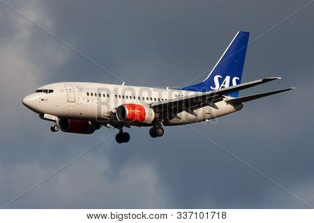 Frankfurt / Germany - December 6, 2012: Scandinavian Airlines Boeing 737-600 Ln-rpg Passenger Plane