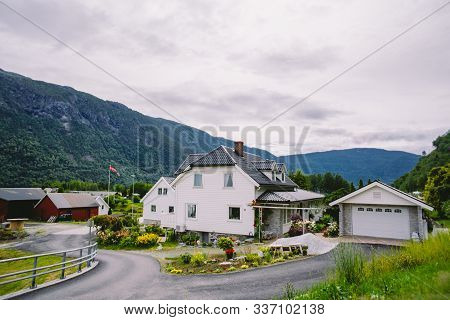 Cityscape With White Spaced-out Traditional House In Norway. Norway House, Traditional Scandinavian