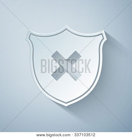Paper Cut Shield And Cross X Mark Icon Isolated On Grey Background. Denied Disapproved Sign. Protect