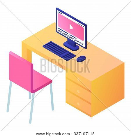 Pc Computer On Table Icon. Isometric Of Pc Computer On Table Vector Icon For Web Design Isolated On