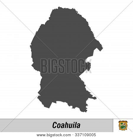 High Quality Map With Flag State Of Mexico - Coahuila