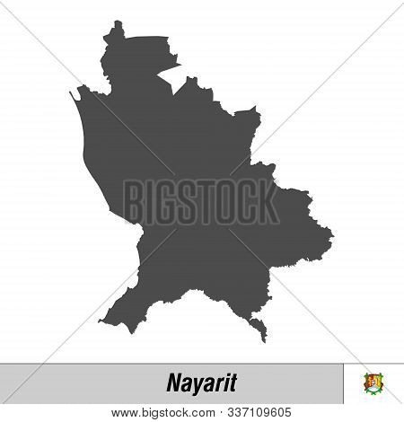 High Quality Map With Flag State Of Mexico - Nayarit