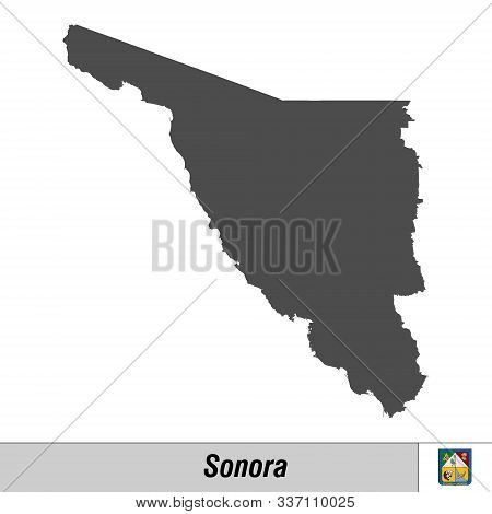 High Quality Map With Flag State Of Mexico - Sonora
