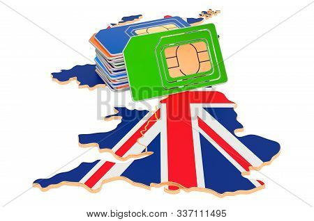 Sim Cards On The British Map. Mobile Communications, Roaming In The United Kingdom, Concept. 3d Rend
