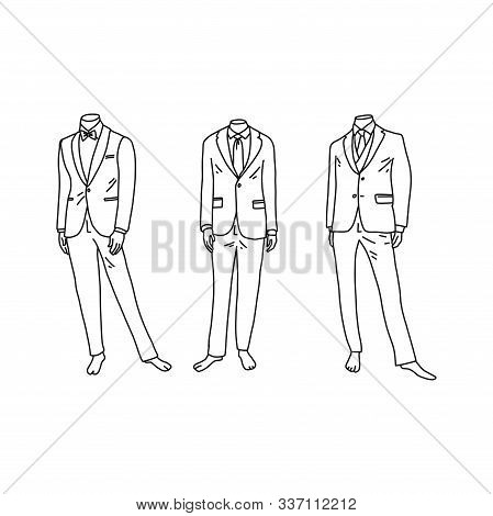 Headless Mannequins In Fashionable Mens Suits. Vector Illustration On White Background. Mens Fashion