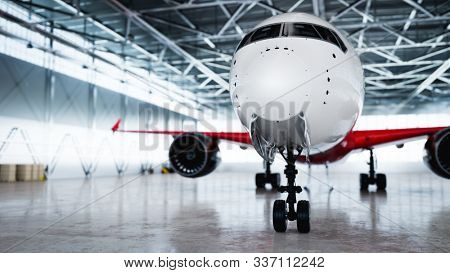 Big airplane in aircraft hangar. Passenger or cargo transportation. 3D illustration