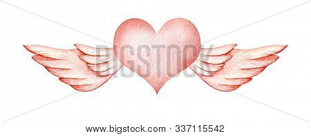 Abstract Watercolor Decorative Element. Gently Pink Flying Heart. A Heart With Angel Wings. Valentin
