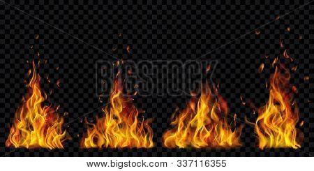 Set Of Translucent Burning Campfires Of Flames And Sparks On Transparent Background. For Used On Dar