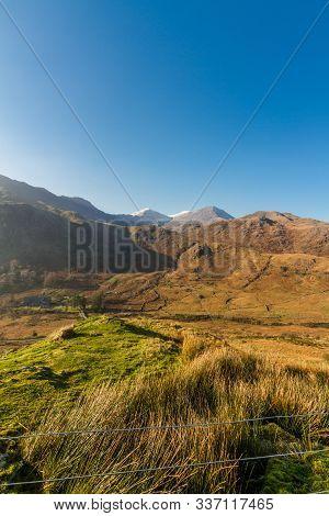 Beautiful Mountains In Autumn Fall, Snow On Peak.