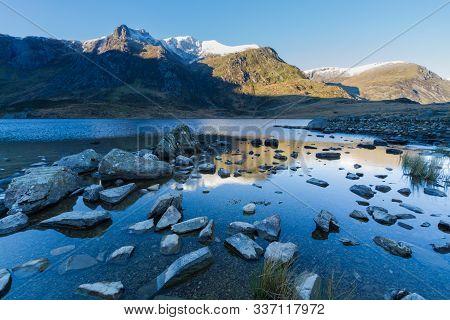 Early Morning Cwm And Lake, Snow On Mountain Y Garn.  Snowdonia National Park, Gwynedd, Wales, Uk. P