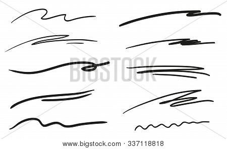 Hand Drawn Wavy Lines On White. Abstract Underlines. Black And White Illustration