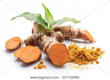Fresh turmeric rhizome and turmeric powder isolated on white background.