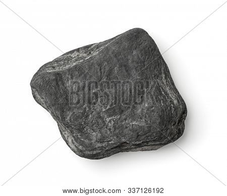 Top view of flat grey stone isolated on white