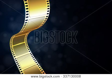 Realistic 3d Gold Cinema Film Strip Isolated On Blue Background. Festive Design Cinema Film Frame Wi