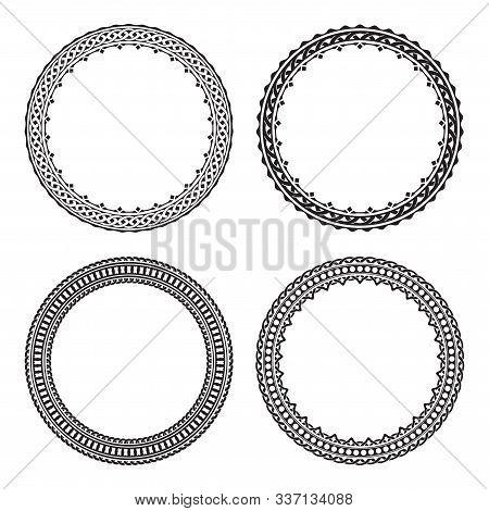 Set Of Four Black Round Frames Isolated On A White Backrgound